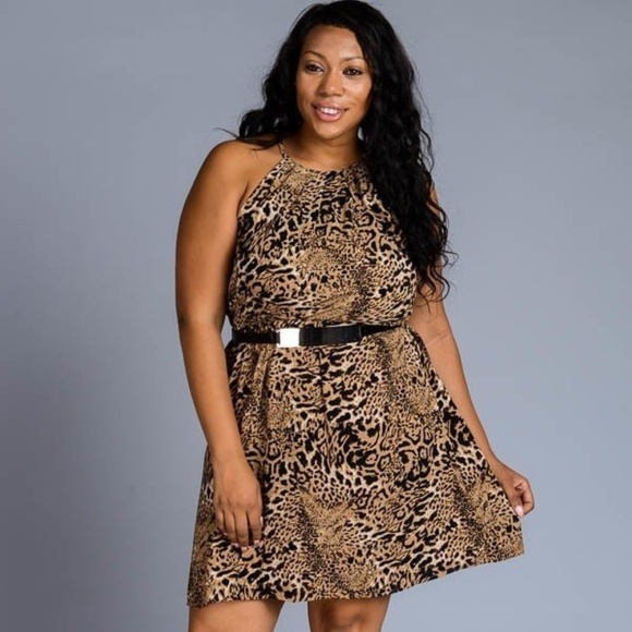 NEW PLUS Halter animal print dress with gold belt Boutique